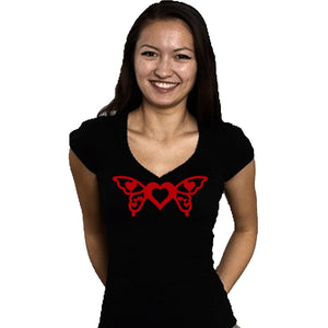 Butterfly Wings With Heart T Shirts Xl / Black Long T-Shrts
