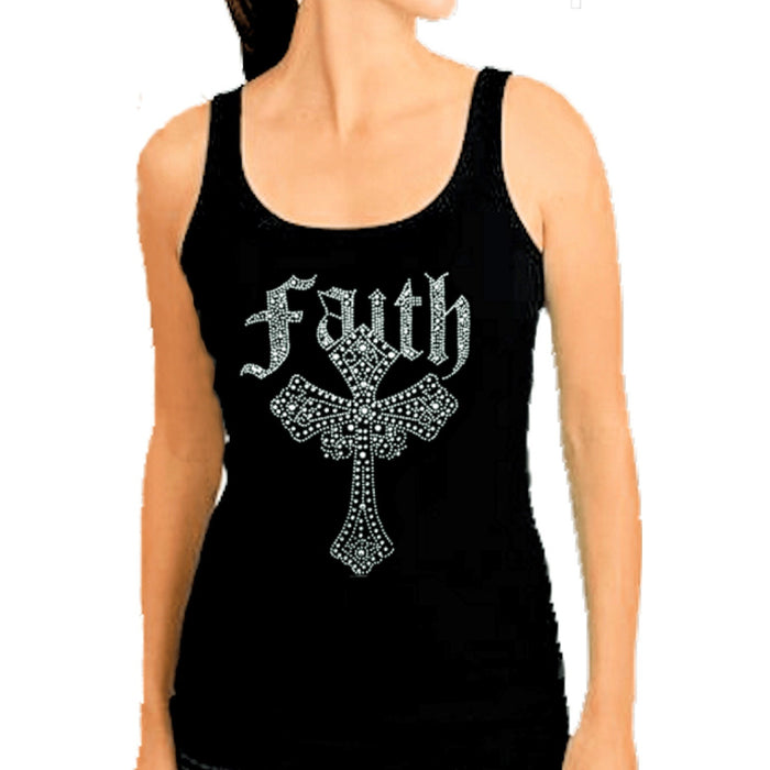 Crystal Rhinestone Inspirational Faith Cross Tank Top
