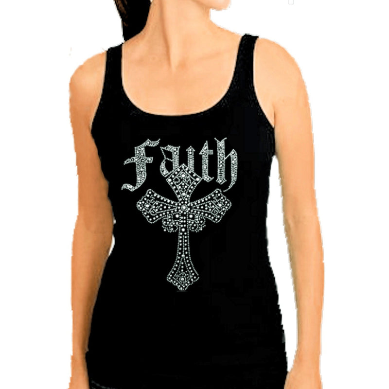 T-Shrts - Crystal Rhinestone Inspirational Faith Cross Tank Top