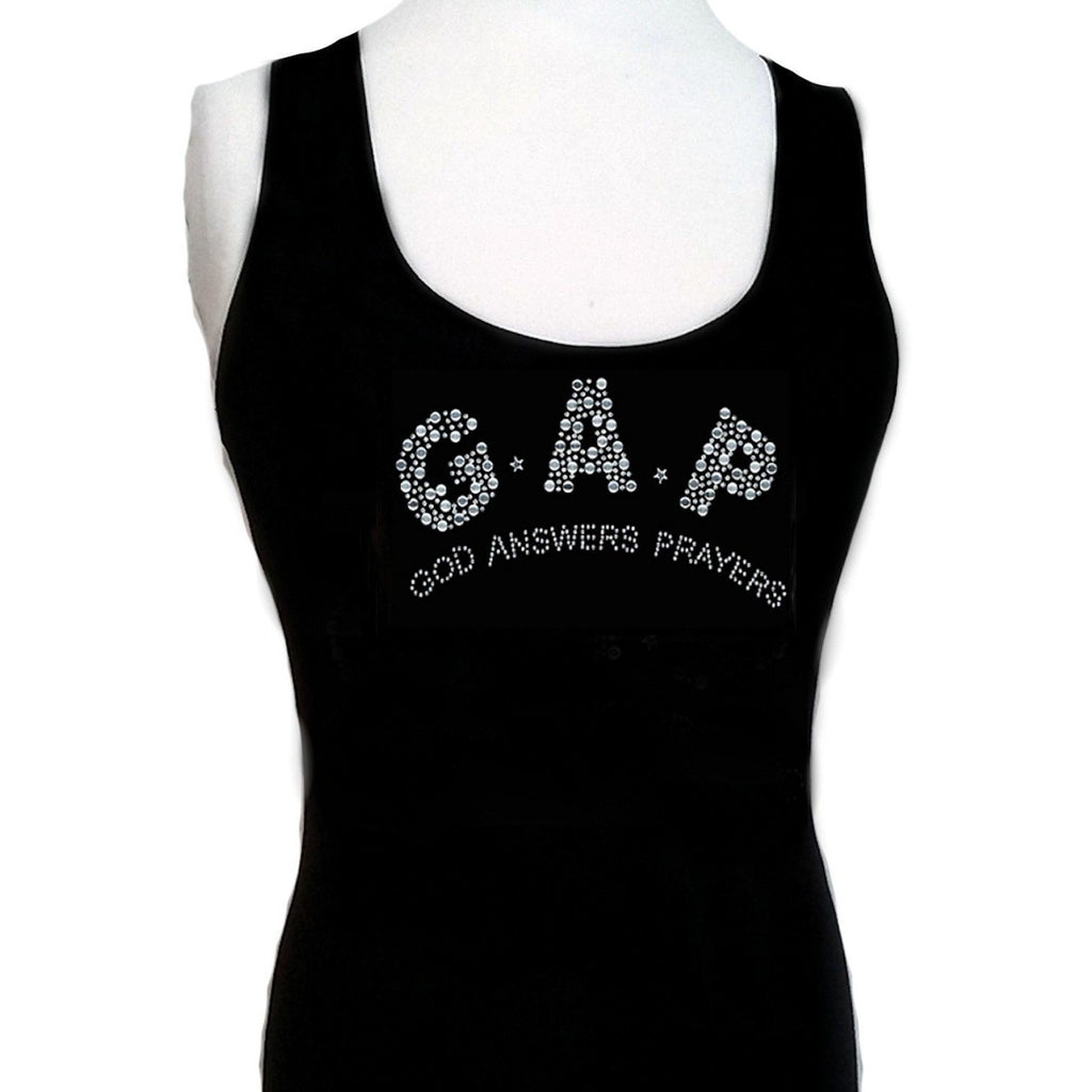T-Shrts - God Answers Prayers Rhinestone Tank Top