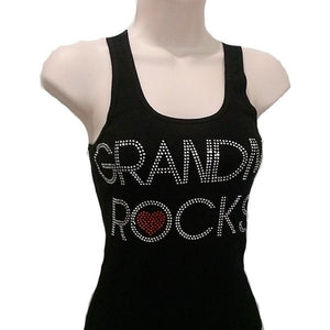 Grandma Rocks Rhinestone Black Ribbed Razor Back Tank Top