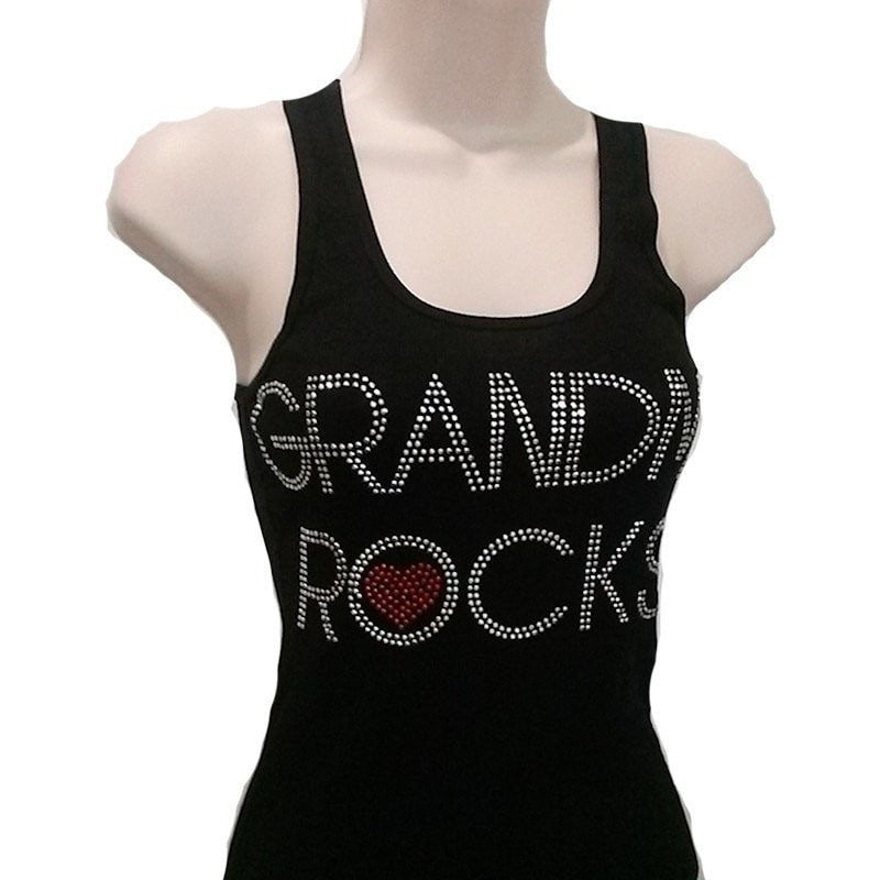 T-Shrts - Grandma Rocks Rhinestone Black Ribbed Razor Back Tank Top
