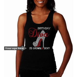 Grown And Sexy Birthday Diva Personalized Rhinestone Tank Top S / Black Regular T-Shrts