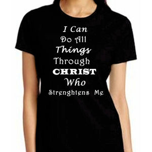 I Can Do All Things Through Christ Who Strengthens Me Xl / Black Short T-Shrts