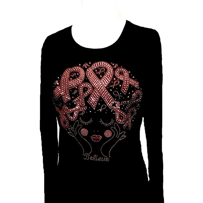 T-Shrts - Pink Rhinestone Hair Ribbons Breast Cancer T Shirt