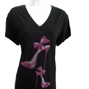 Purple Rhinestone Bow Stilletto Shoe T Shirt