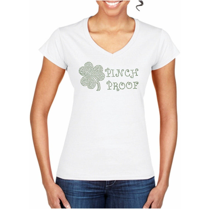 Rhinestone Shamrock Pinch Proof  St. Patricks Day T Shirt