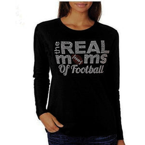 The Real Moms Of Football Rhinestone T Shirt Xl / Black Long Sleeve T-Shrts