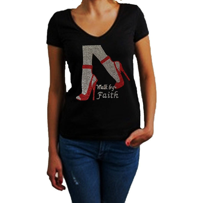 Walk By Faith Rhinestone High Heel Shoes T Shirts