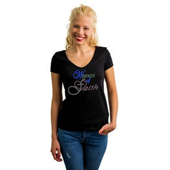 Woman Of Faith Rhinestone T Shirt