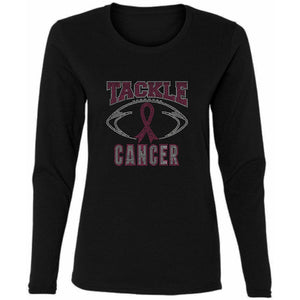 Tackle Cancer Rhinestone Football T Shirt