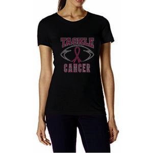 Tackle Cancer Rhinestone Football T Shirt S / Black Short T-Shrts