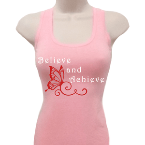 Believe And Achieve Butterfly Tank Top Xl / Pink