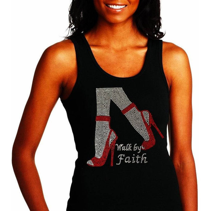 Walk By Faith Rhinestone High Heel Shoes Tank Top
