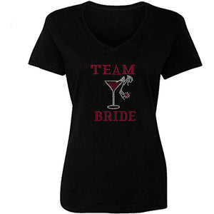 Team Bride Rhinestone Martini Glass T Shirt