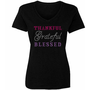 Thankful Grateful Blessed Rhinestone T Shirt