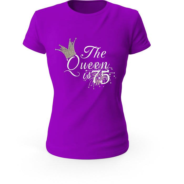 The Queen is 75 Glitter Birthday T-shirt