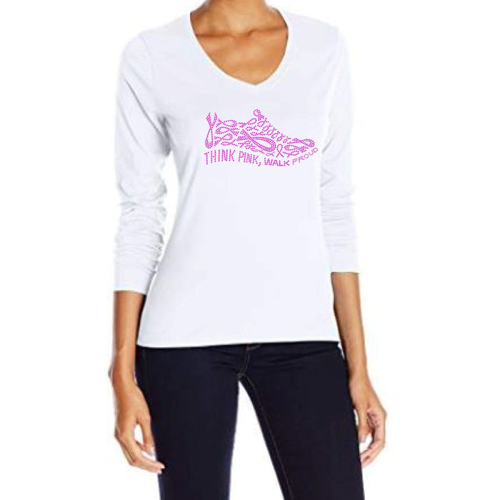 Think Pink Walk Proud Rhinestone Ribbon Shoe Tee