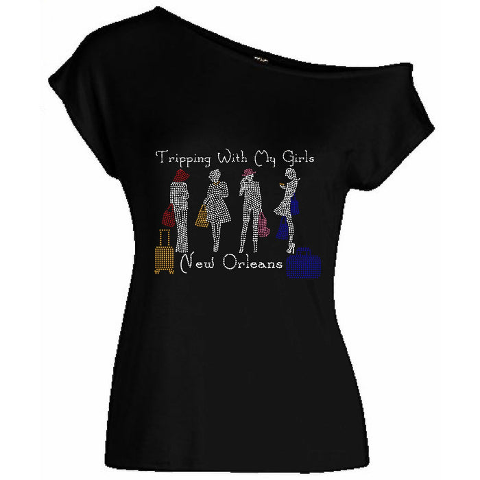 Tripping With My Girls Personalized Off Shoulder Rhinestone Tee
