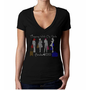 Tripping With My Girls Personalized Rhinestone Tee