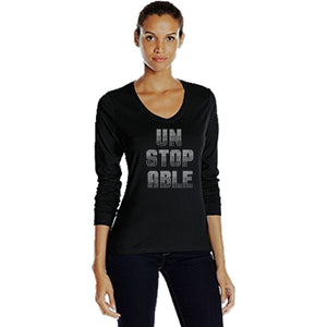 Unstoppable Rhinestone T Shirt S / Black Long T-Shrts