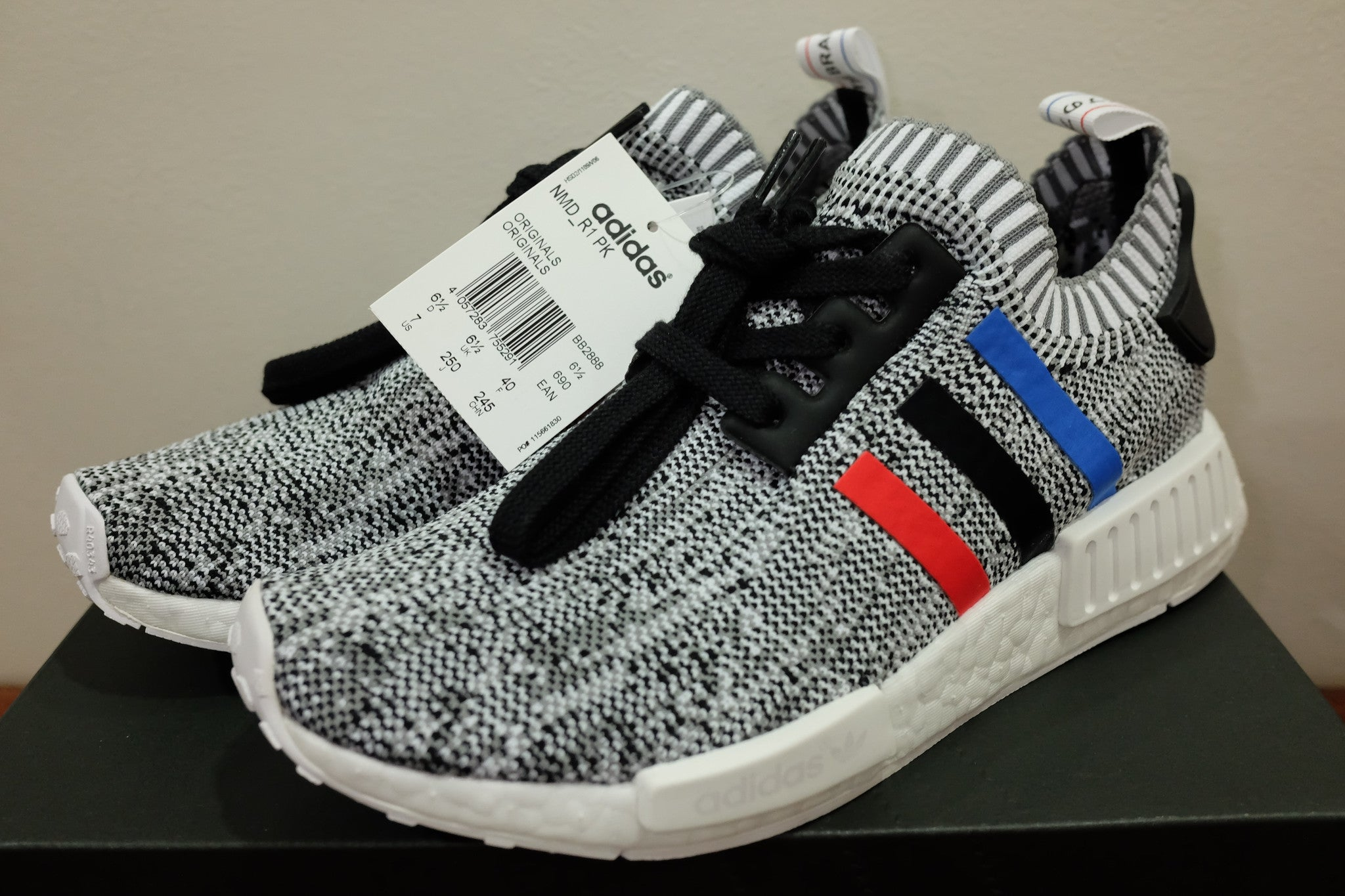 9d52cd078de21 Tri-Color White   adidas Originals NMD R1 Primeknit – Dark Sole