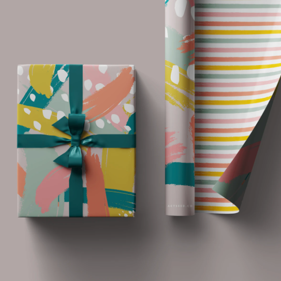 Actseed 50cm by 70cm Double-Sided Wrapping Paper: Candy Stripes