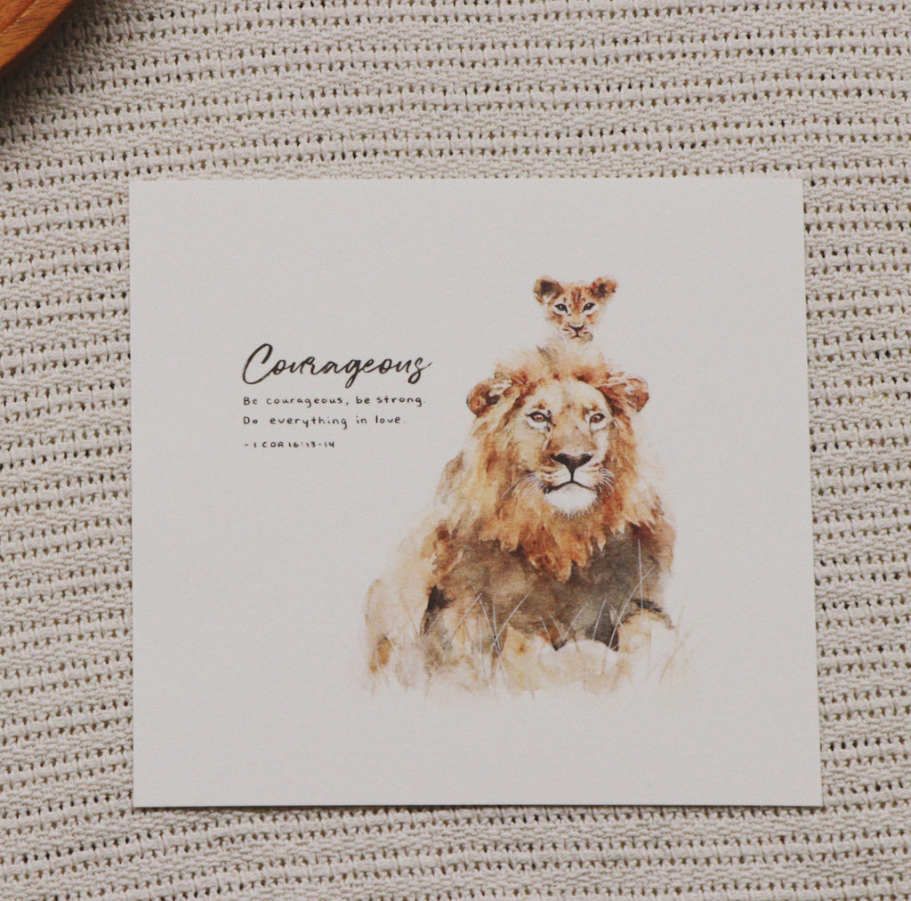 20cm x 20 cm Prints: Lion And Cub (1 Corinthians 16:13-14)