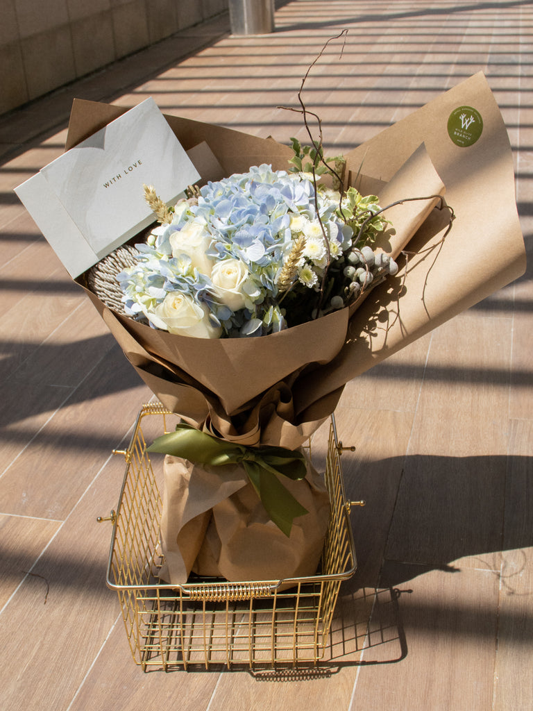 Wild Olive bouquet + Card + Brownies