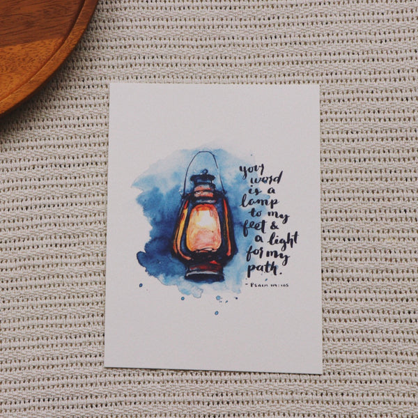 A5 Print: Lamp To My Feet (Psalm 119:105)