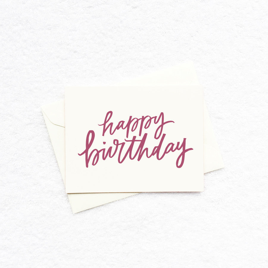 Card - Happy Birthday (Burgundy)