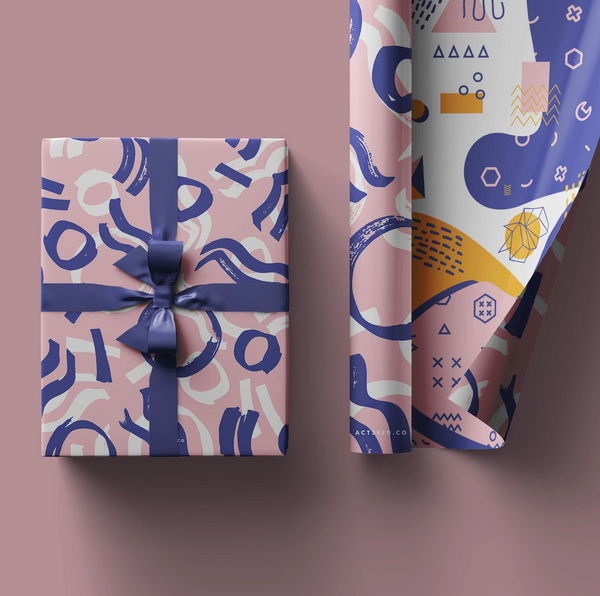 Actseed 50cm by 70cm Double-Sided Wrapping Paper: Purple Geometric
