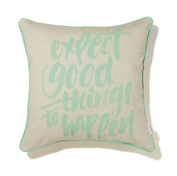 Stitches & Tweed Cushion: Expect Good Things To Happen