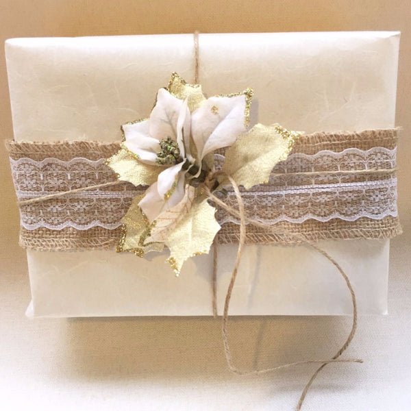 Premium White Fibre on Ivory Gift Wrapping Paper