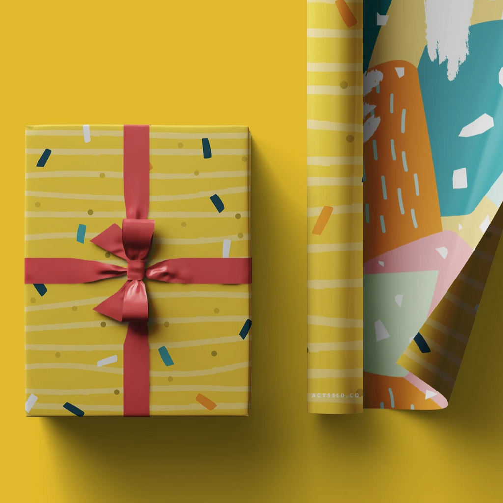 Actseed 50cm by 70cm Double-Sided Wrapping Paper: Yellow Cheese