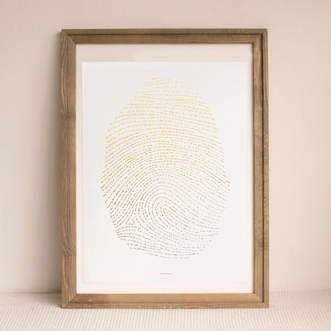 "Illuminated Fingerprint - Gold 18"" by 24"""