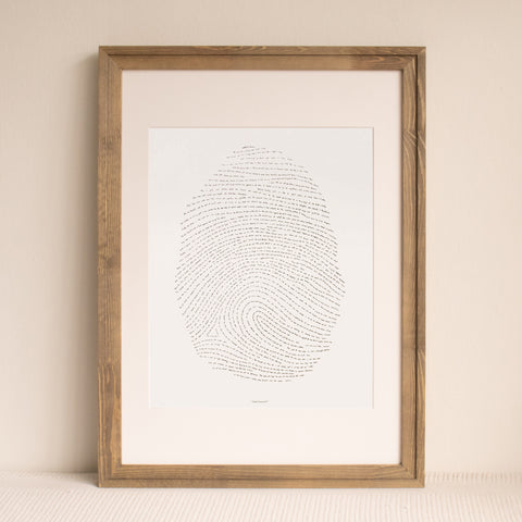 "Black Letterpress Fingerprint - 16"" by 20"""