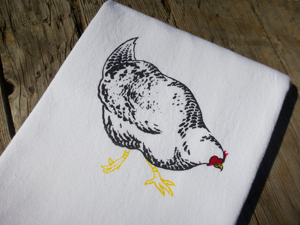 Maude The Barred Rock Chicken Flour Sack Towel