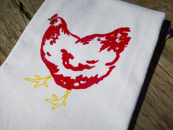 Retta The Rhode Island Red Chicken Flour Sack Towel