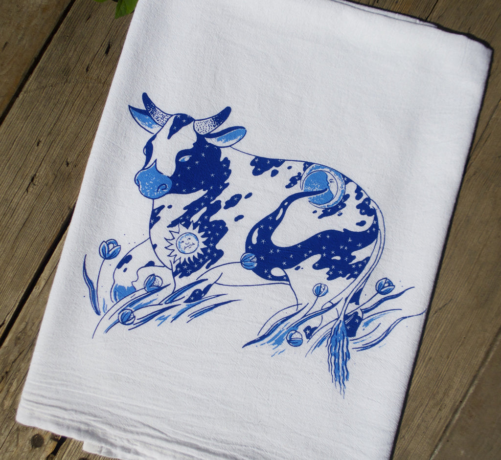 Delft Blue Farm Cow Flour Sack Towel