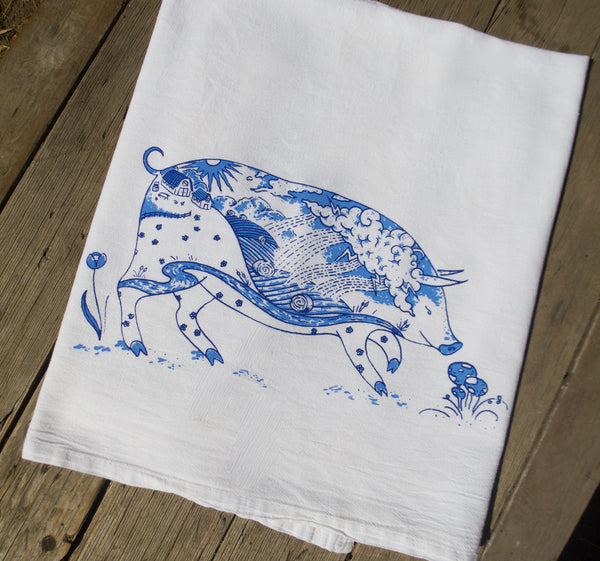 Delft Blue Farm Pig Flour Sack Towel