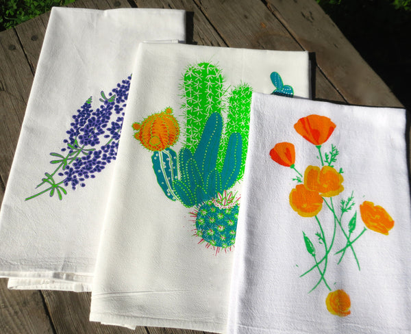 Towel Set 3, Cactus and Flowers