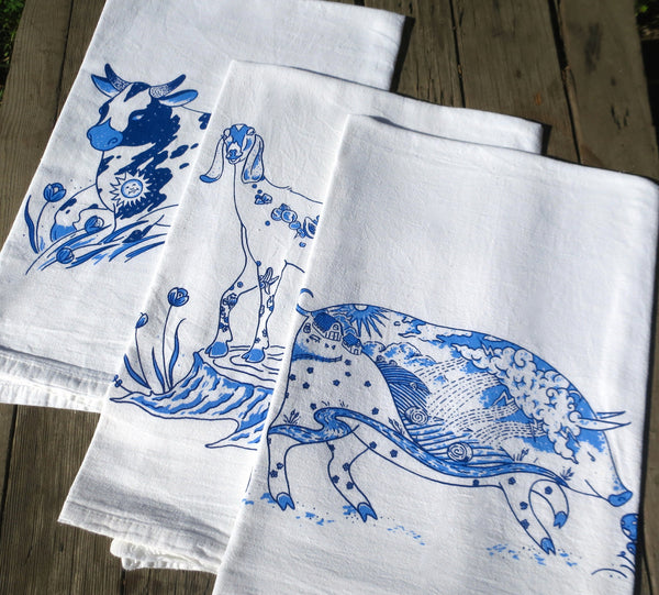 Towel Set 2, Delft Blue Animals