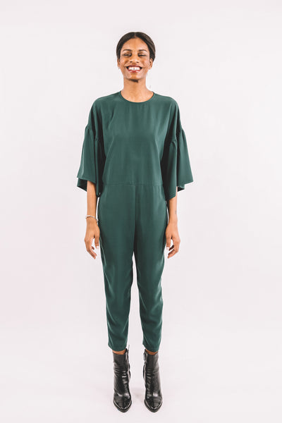 Tessa Jumpsuit / Green Georgette