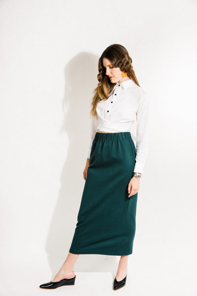 Porch Skirt / Green Ponte