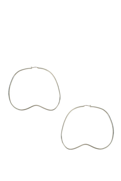 Bean Hoop Earrings / Silver