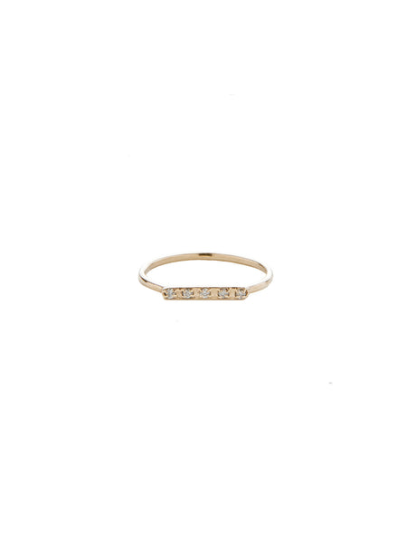 Diamond Bar Ring / Gold with Diamonds