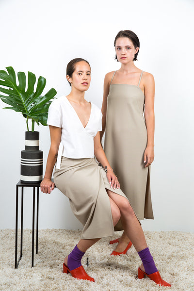 Fay Wrap Skirt / Tan Bi Stretch