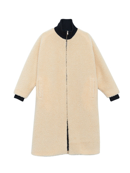 Blob Coat / Off White Faux Shearling