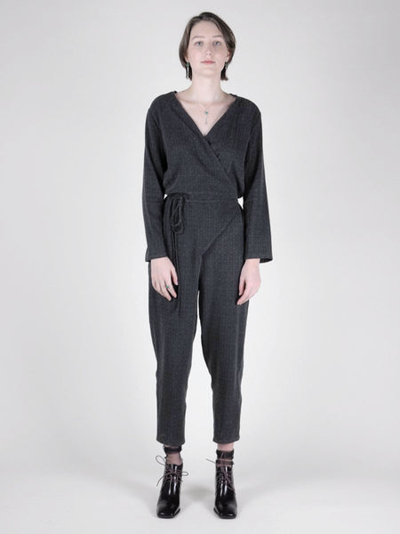 Tiffany Jumpsuit / Charcoal Jacquard